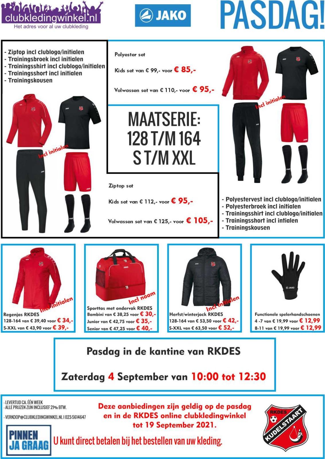 Aanbieding clubkledingwinkel en pasdag op 4 september